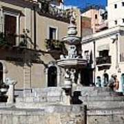 Another View Of An Old Unused Fountain In Taormina Sicily Art Print