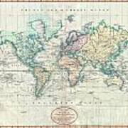 1801 Cary Map Of The World On Mercator Projection Art Print