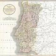 1811 Cary Map Of The Kingdom Of Portugal Art Print