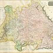 1814 Thomson Map Of Bavaria Germany Art Print