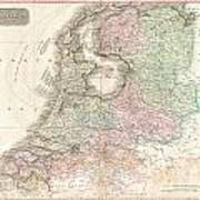 1818 Pinkerton Map Of Holland Or The Netherlands Art Print