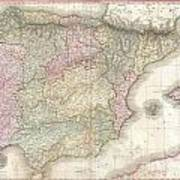 1818 Pinkerton Map Of Spain And Portugal Art Print