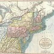 1821 Cary Map Of New England New York Pennsylvania And Virginia Art Print