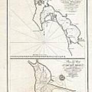 1825 Victoria Map Of San Diego California And San Blas Mexico  Art Print