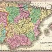 1827 Finely Map Of Spain And Portugal Art Print