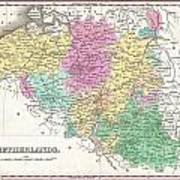 1827 Finley Map Of Belgium And Luxembourg Art Print