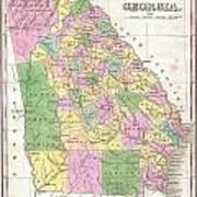 1827 Finley Map Of Georgia Art Print