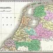 1827 Finley Map Of Holland Or The Netherlands Art Print