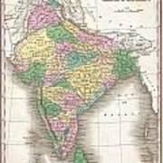 1827 Finley Map Of India  Art Print