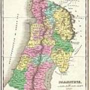 1827 Finley Map Of Israel  Palestine Holy Land Art Print