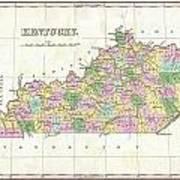 1827 Finley Map Of Kentucky Art Print