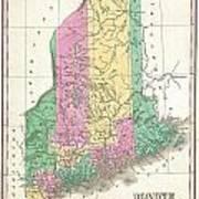 1827 Finley Map Of Maine Art Print