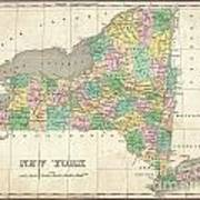1827 Finley Map Of New York State Art Print