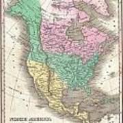 1827 Finley Map Of North America Art Print