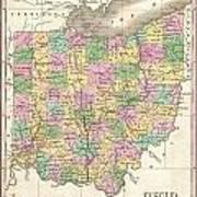 1827 Finley Map Of Ohio Art Print