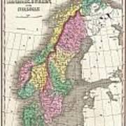 1827 Finley Map Of Scandinavia Norway Sweden Denmark Art Print