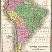 1827 Finley Map Of South America Art Print