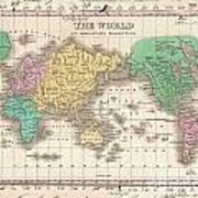 1827 Finley Map Of The World Art Print