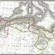 1829 Lapie Map Of The Eastern Mediterranean Morocco And The Barbary Coast Art Print