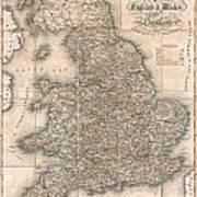 1830 Pigot Pocket Map Of England And Wales Art Print