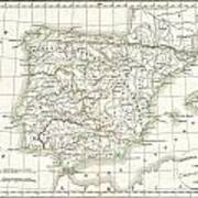 1832 Delamarche Map Of Spain And Portugal Under The Roman Empire  Art Print
