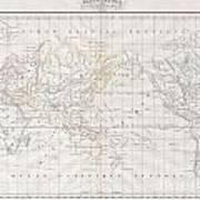 1832 Malte Brun Map Of The World On Mercator Projection Art Print