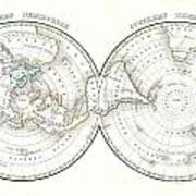 1838 Bradford Map Of The World On Polar Projection Art Print