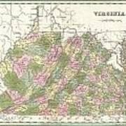 1838 Bradford Map Of Virginia Art Print