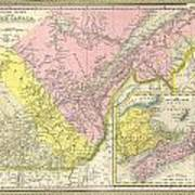 Map Of Canada In 1850.1850 Mitchell Map Of Eastern Canada Including Quebec Photograph By