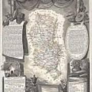 1852 Levasseur Map Of The Department Du Rhone France  Beaujolais Wine Region Art Print