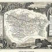 1852 Levasseur Map Of The Department L Aude France Art Print