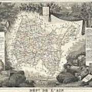 1852 Levasseur Map Of The Department L'ain France Bugey Wine Region Art Print