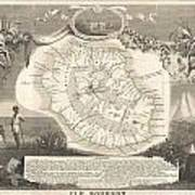 1852 Levasseur Map Of The Reunion Or The Ile Bourbon Indian Ocean Art Print