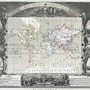 1852 Levasseur Map Of The World Art Print