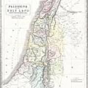 1852 Philip Map Of Palestine  Israel  Holy Land Art Print