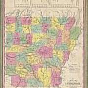 1853 Mitchell Map Of Arkansas Art Print