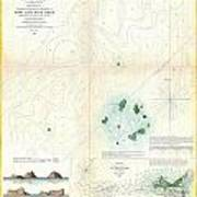 1853 Us Coast Survey Map Or Chart Of Sow And Pigs Reef Off Marthas Vineyard Massachussetts Art Print