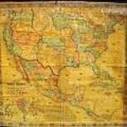 1854 Jacob Monk Wall Map Of North America Art Print