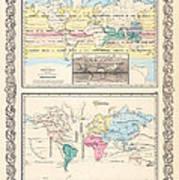 1855 Antique World Maps Illustrating Principal Features Of Meteorology Rain And Principal Plants Art Print
