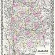 1855 Colton Map Of Alabama Art Print