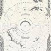 1855 Colton Map Of Antarctica The South Pole Or The Southern Polar Regions Art Print