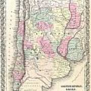 1855 Colton Map Of Argentina Chile Paraguay And Uruguay Art Print
