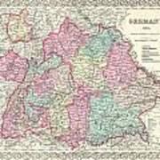 1855 Colton Map Of Bavaria Wurtemberg And Baden Germany Art Print