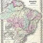 1855 Colton Map Of Brazil And Guyana Art Print
