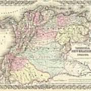 1855 Colton Map Of Columbia Venezuela And Ecuador Art Print