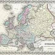 1855 Colton Map Of Europe Art Print