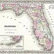 1855 Colton Map Of Florida Art Print