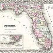 1855 Colton Map Of Florida Art Print