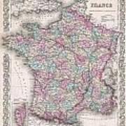 1855 Colton Map Of France Art Print
