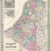 1855 Colton Map Of Holland And Belgium Art Print
